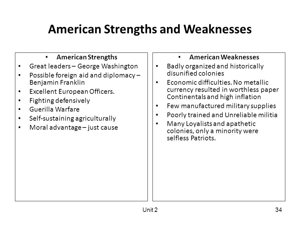 Unit 234 American Strengths and Weaknesses American Strengths Great leaders – George Washington Possible foreign aid and diplomacy – Benjamin Franklin Excellent European Officers.