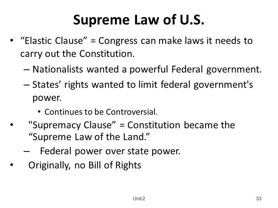 Unit 253 Supreme Law of U.S.