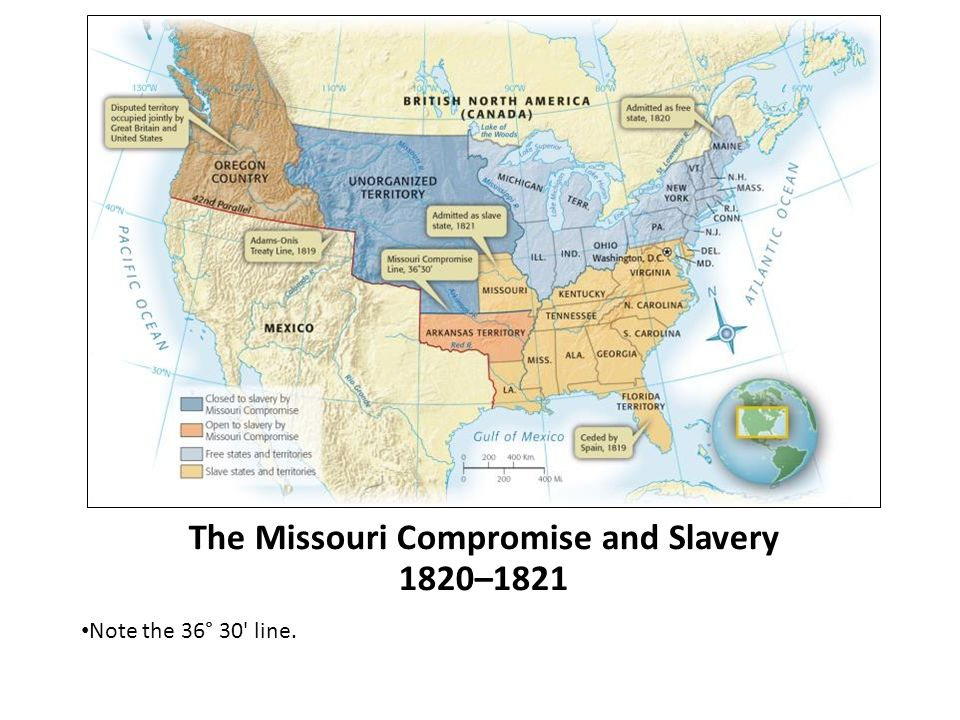 The Missouri Compromise and Slavery 1820–1821 Note the 36° 30 line.