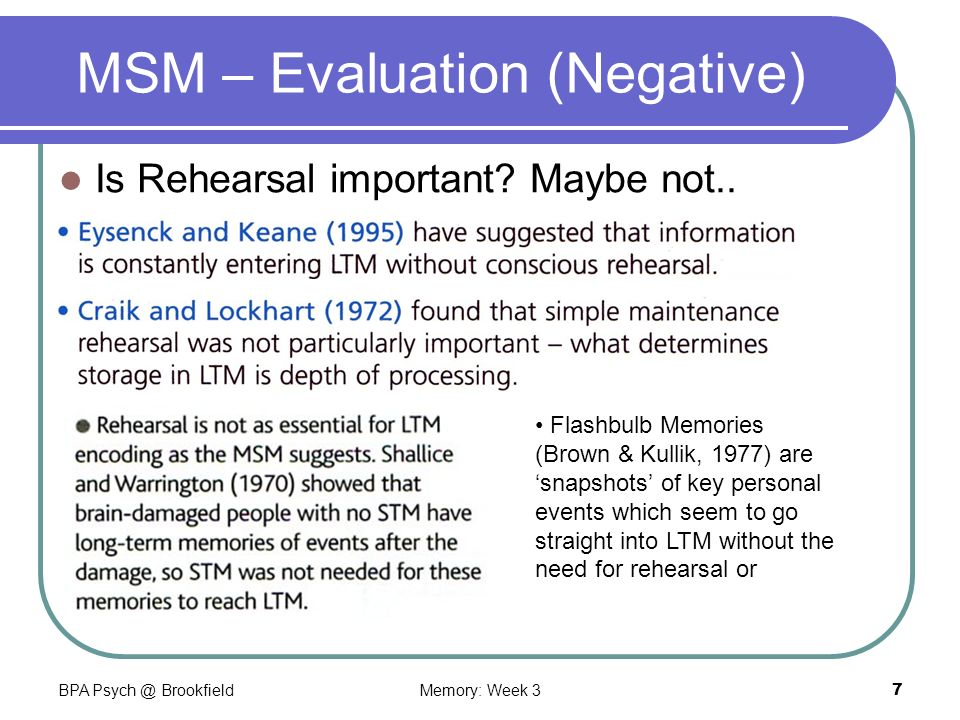 Bpa Psych Brookfieldmemory Week 37 Msm Evaluation Negative Is Rehearsal Important