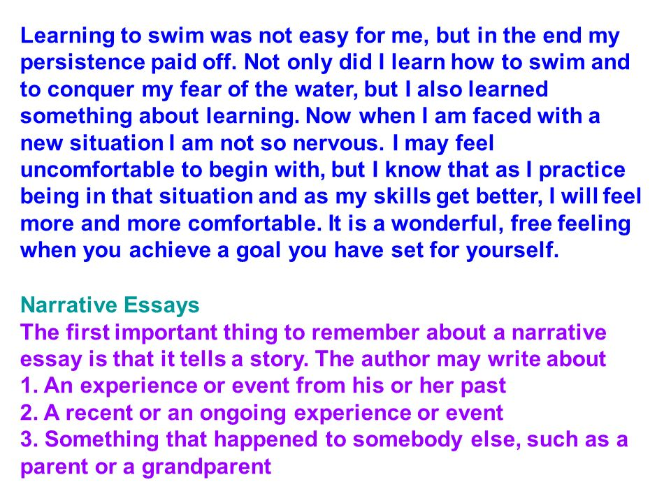 narrative essay on fear of heights Narrative essays can be quite long, so here only the beginnings of essays are included: learning can be scary this excerpt about learning new things and new situations is an example of a personal narrative essay that describes learning to swim.
