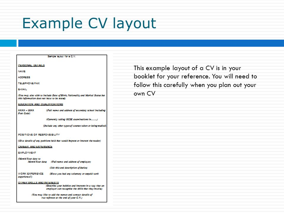 8 example cv layout - Correct Layout For A Cv