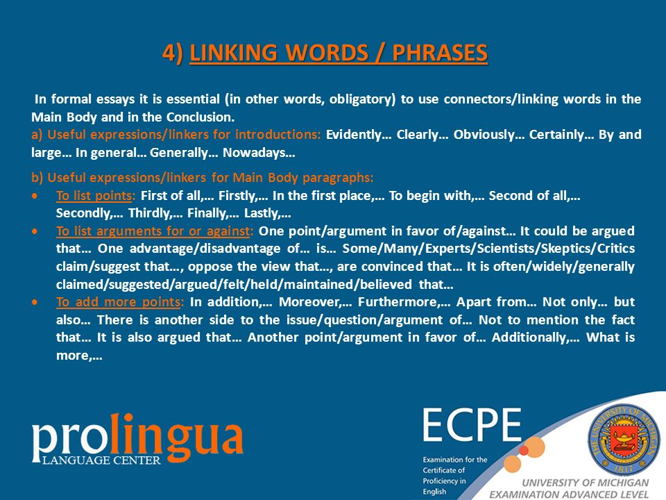 essay writing linking expressions Writing that is clear and enjoyable to read offers the reader a sense of purpose and direction using 'signpost' phrases to introduce new sentences and paragraphs such as those suggested below also helps you as a writer to stay on track.