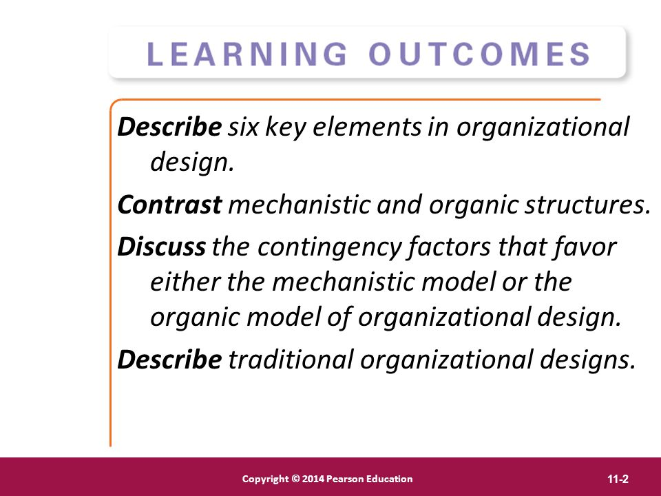 Copyright © 2012 Pearson Education, Inc. Publishing as Prentice Hall Copyright © 2014 Pearson Education 11-2 Describe six key elements in organization
