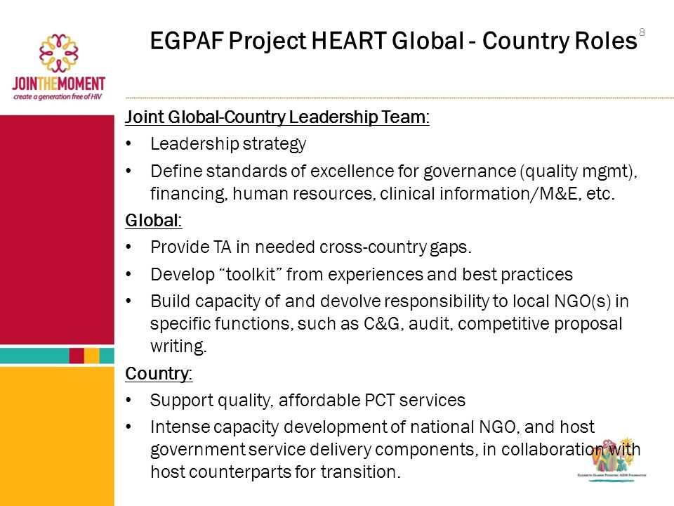 EGPAF Project HEART Global - Country Roles Joint Global-Country Leadership Team: Leadership strategy Define standards of excellence for governance (quality mgmt), financing, human resources, clinical information/M&E, etc.