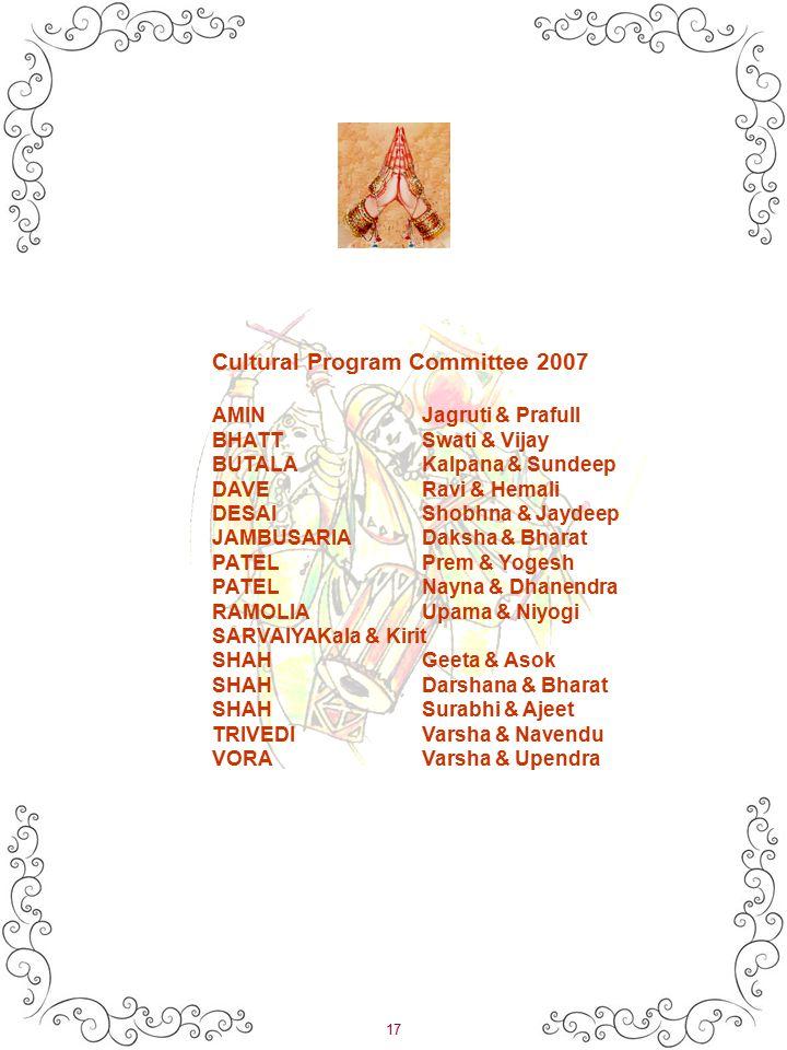 17 Cultural Program Committee 2007 AMINJagruti & Prafull BHATTSwati & Vijay BUTALAKalpana & Sundeep DAVERavi & Hemali DESAIShobhna & Jaydeep JAMBUSARIADaksha & Bharat PATELPrem & Yogesh PATELNayna & Dhanendra RAMOLIAUpama & Niyogi SARVAIYAKala & Kirit SHAHGeeta & Asok SHAHDarshana & Bharat SHAHSurabhi & Ajeet TRIVEDIVarsha & Navendu VORAVarsha & Upendra
