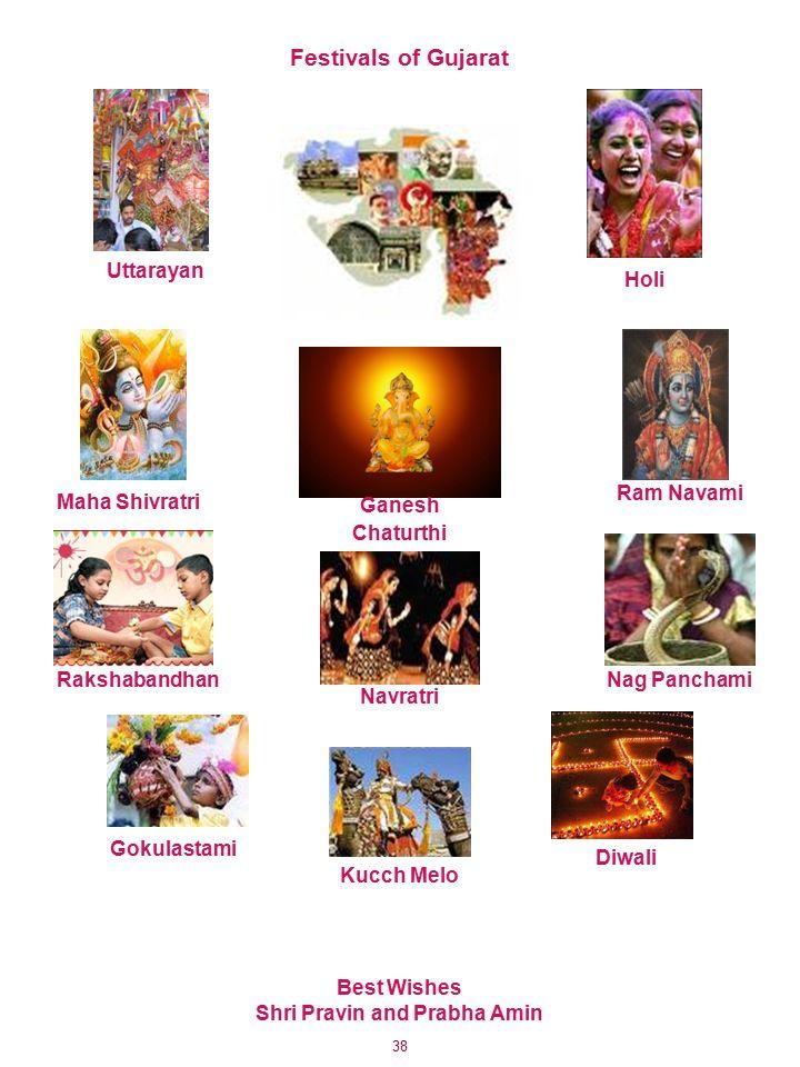 38 Festivals of Gujarat Kucch Melo Diwali Gokulastami RakshabandhanNag Panchami Navratri Ganesh Chaturthi Ram Navami Maha Shivratri Uttarayan Holi Best Wishes Shri Pravin and Prabha Amin