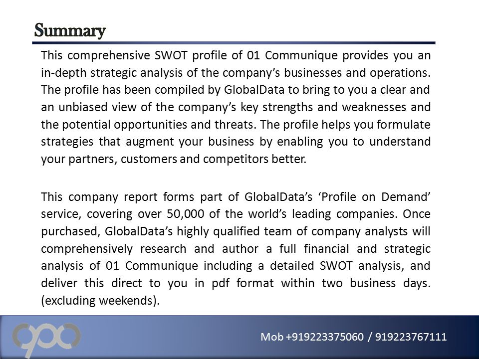 01 Communique (One) - Financial And Strategic Swot Analysis Review