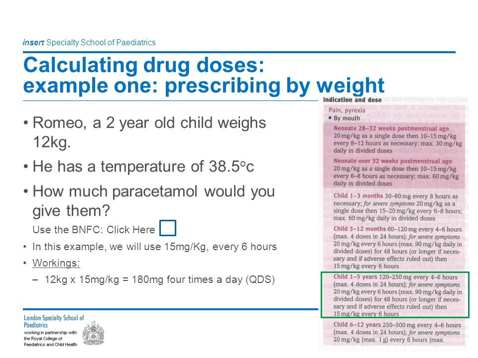 age weight calculation