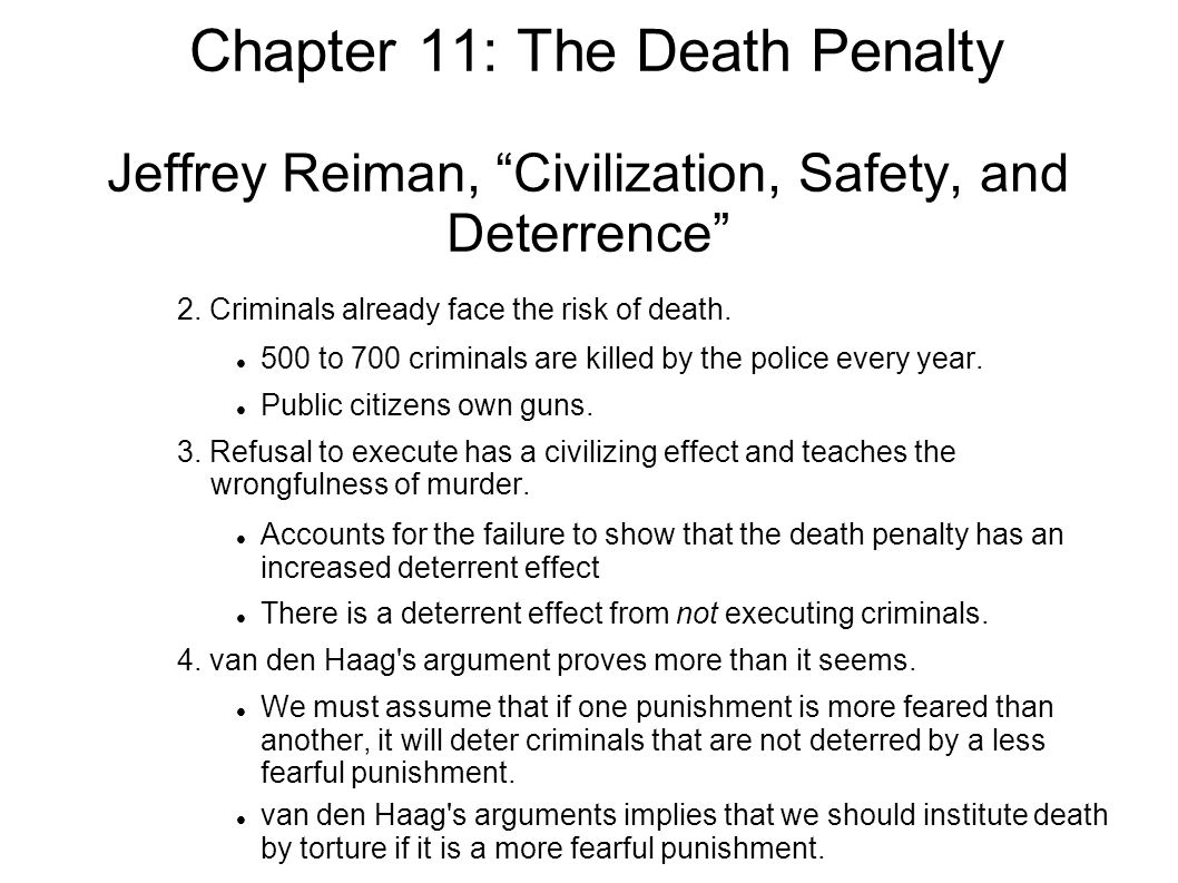 chapter the death penalty two main questions concerning the chapter 11 the death penalty jeffrey reiman civilization safety and deterrence 2