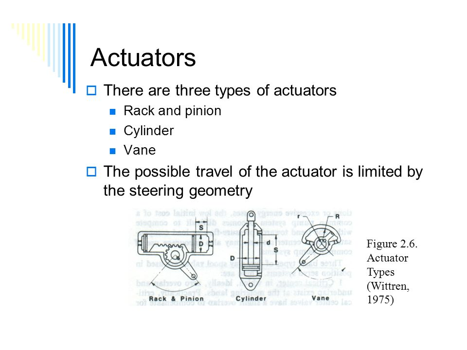 Actuators  There are three types of actuators Rack and pinion Cylinder Vane  The possible travel of the actuator is limited by the steering geometry Figure 2.6.