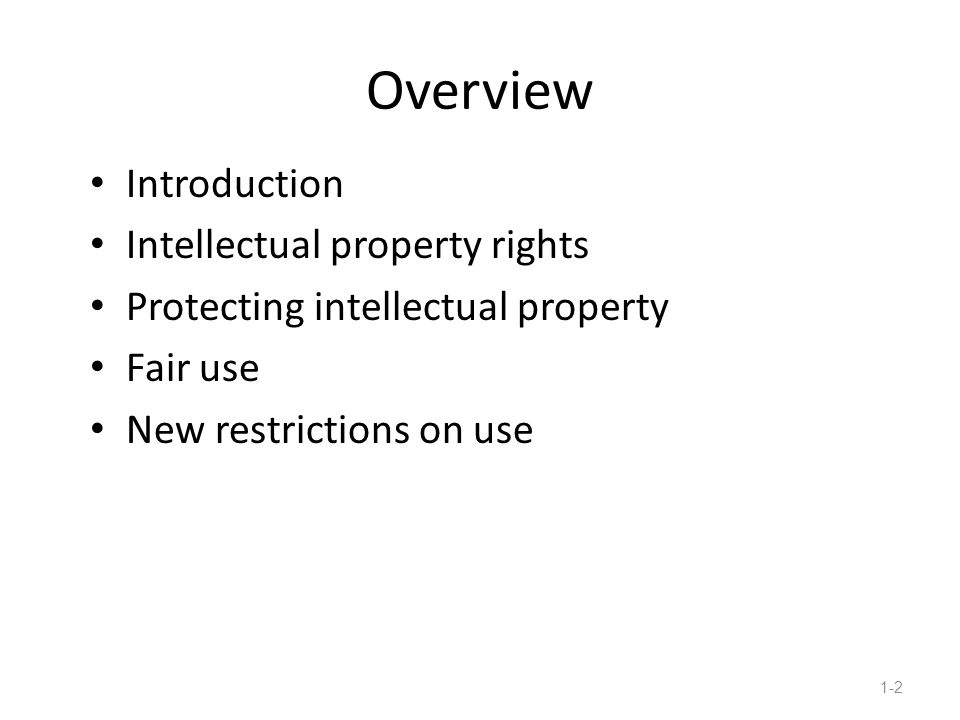 overview of intellectual property essay Intellectual property first clear example of modern usage goes back as early as 1808, when it was used as a heading title in a collection of essays.