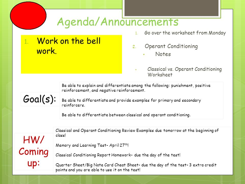 AgendaAnnouncements Candy Friday Will your class qualify 1 – Classical Conditioning Worksheet