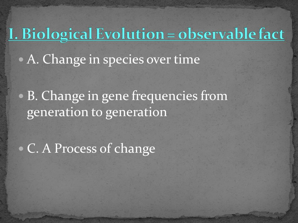 A. Change in species over time B. Change in gene frequencies from generation to generation C.