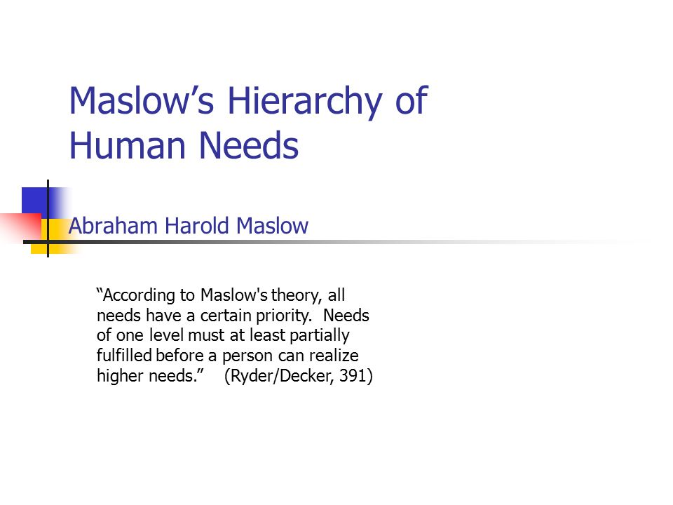"Maslow's Hierarchy of Human Needs Abraham Harold Maslow ""According to Maslow's theory, all needs have a certain priority. Needs of one level must at l"