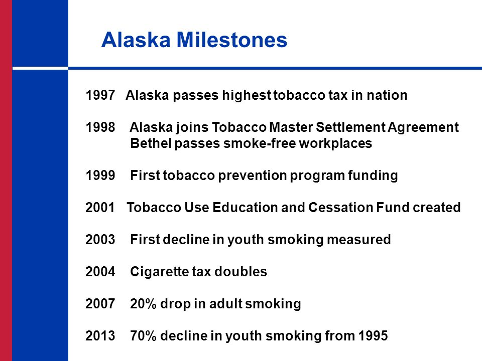Eliminating cancer in alaska a roadmap john killpack western 10 alaska milestones 1997 alaska passes highest tobacco tax in nation 1998 alaska joins tobacco master settlement agreement platinumwayz