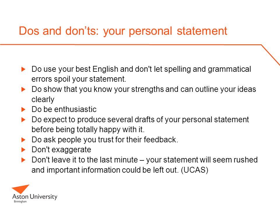 personal statement marketing