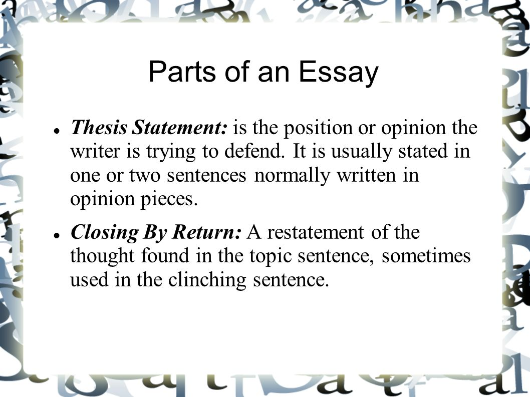 where is the thesis statement located in a position paper