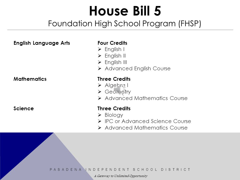 House Bill 5 Graduation Program Update Asadena Independent School