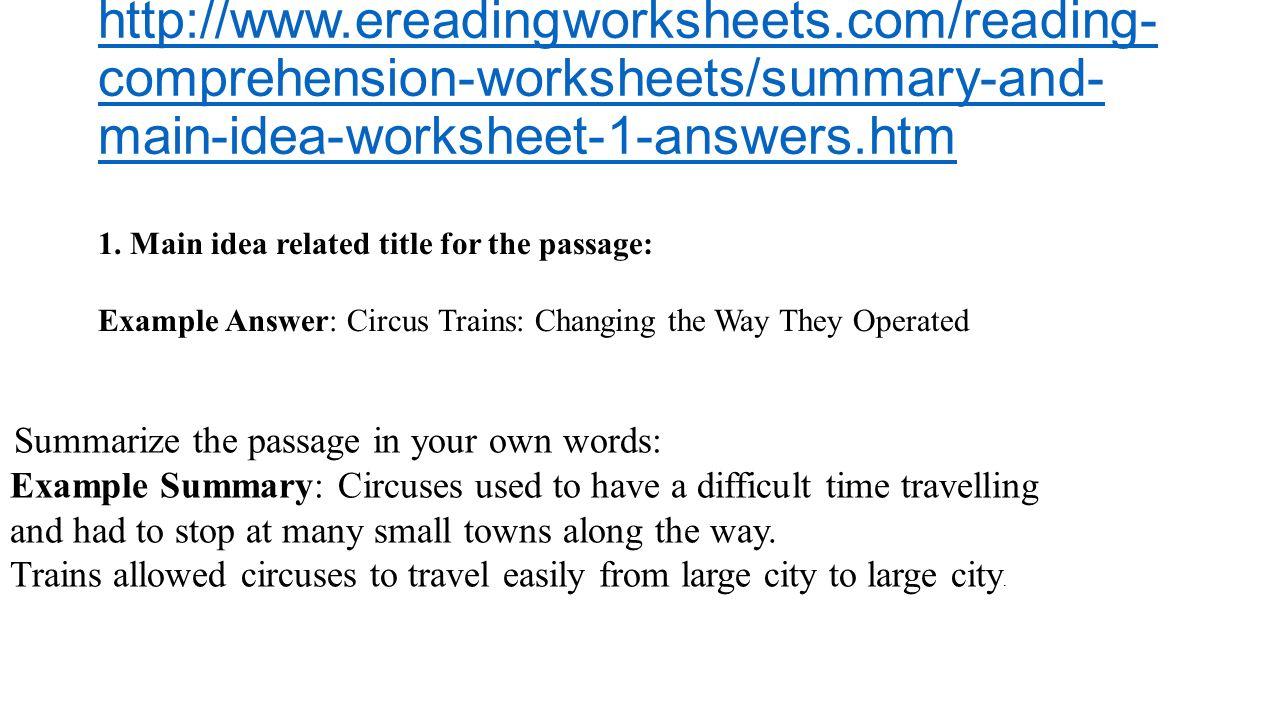 Summary And Main Idea Worksheet 1 Brain Ideas – Ereading Worksheets Main Idea