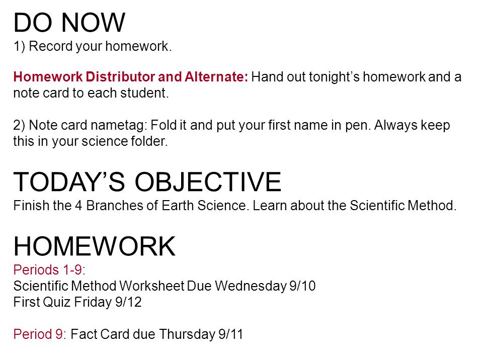 DO NOW 1 Take out your notebooks and Fact Card Label at the top – Branches of Science Worksheet