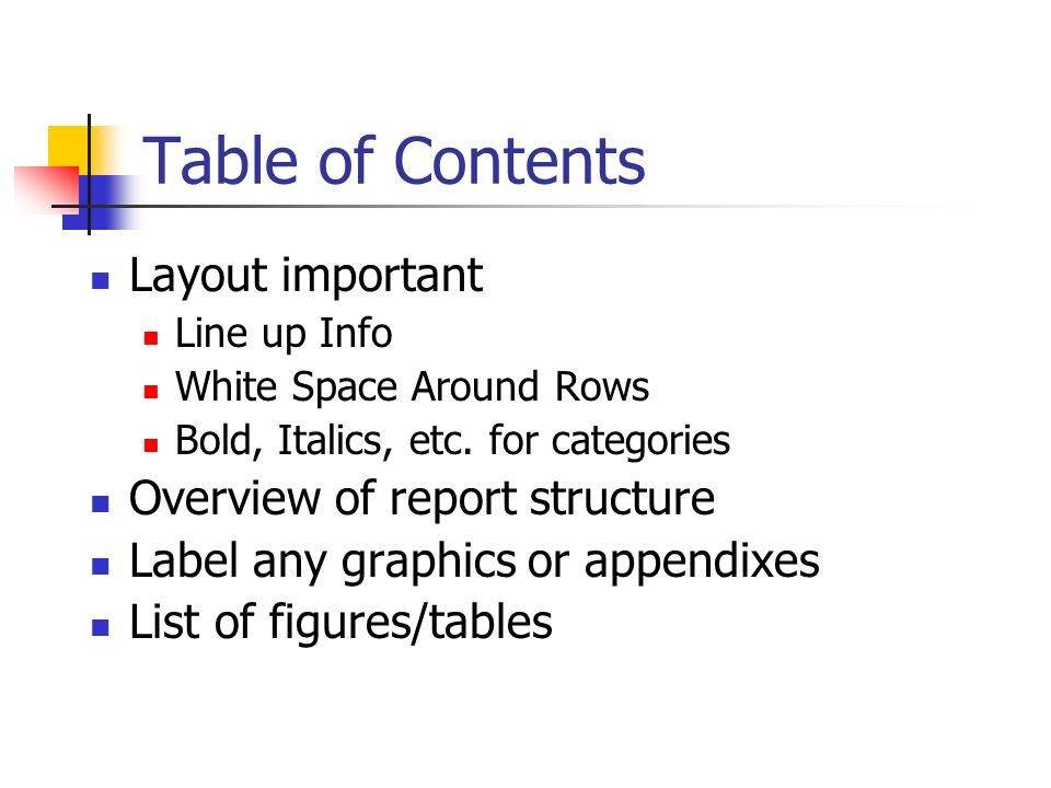 table of contents barilla case report