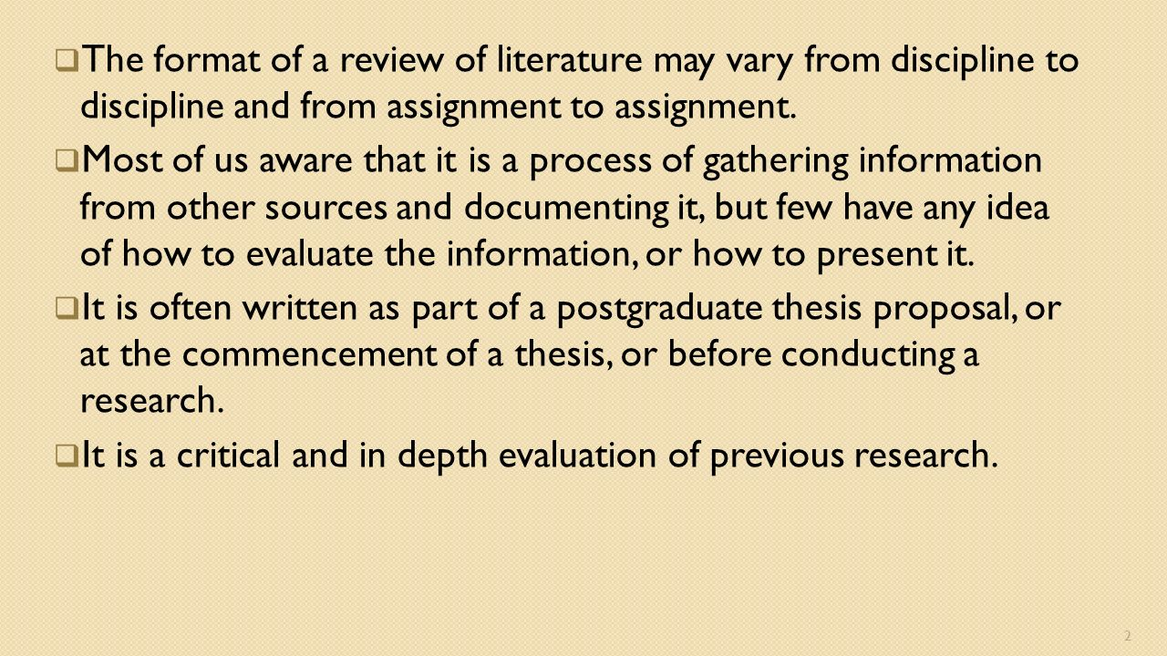 Dissertation How To Write A Literature Review