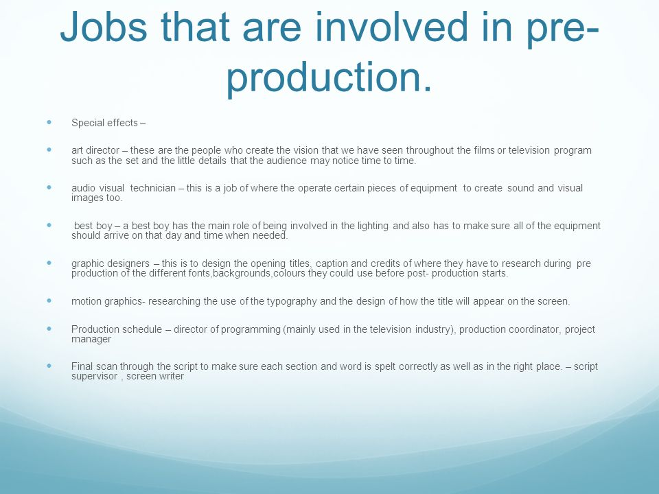 3 Jobs ...  sc 1 st  SlidePlayer & What is pre production? The definition of pre -production is about ... azcodes.com
