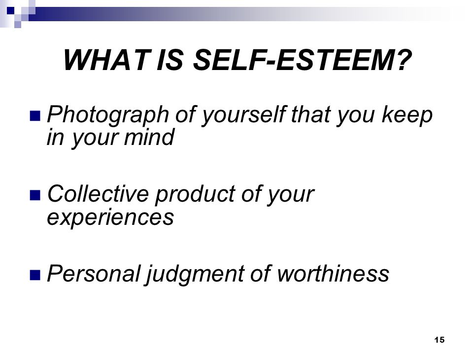 15 WHAT IS SELF-ESTEEM.