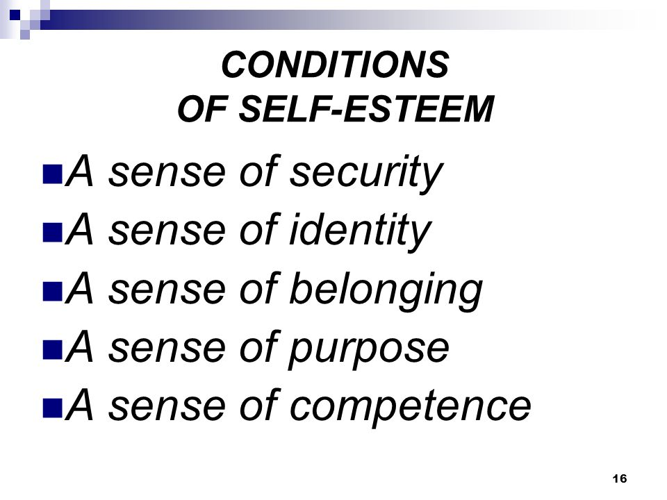 16 CONDITIONS OF SELF-ESTEEM A sense of security A sense of identity A sense of belonging A sense of purpose A sense of competence