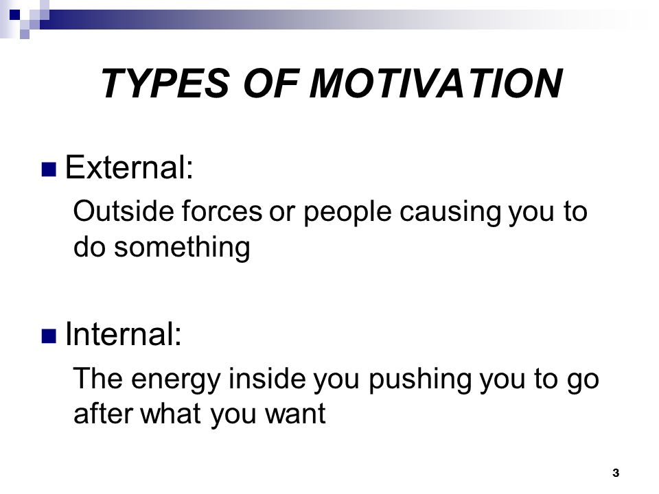 3 TYPES OF MOTIVATION External: Outside forces or people causing you to do something Internal: The energy inside you pushing you to go after what you want