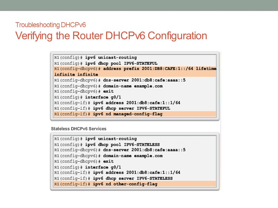 Troubleshooting DHCPv6 Verifying the Router DHCPv6 Configuration