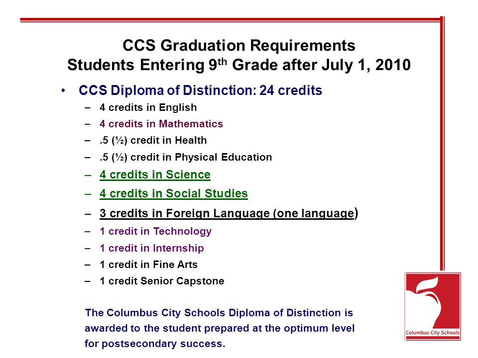 CCS Graduation Requirements Students Entering 9 th Grade after July 1, 2010 CCS Diploma of Distinction: 24 credits –4 credits in English –4 credits in Mathematics –.5 (½) credit in Health –.5 (½) credit in Physical Education –4 credits in Science –4 credits in Social Studies –3 credits in Foreign Language (one language ) –1 credit in Technology –1 credit in Internship –1 credit in Fine Arts –1 credit Senior Capstone The Columbus City Schools Diploma of Distinction is awarded to the student prepared at the optimum level for postsecondary success.