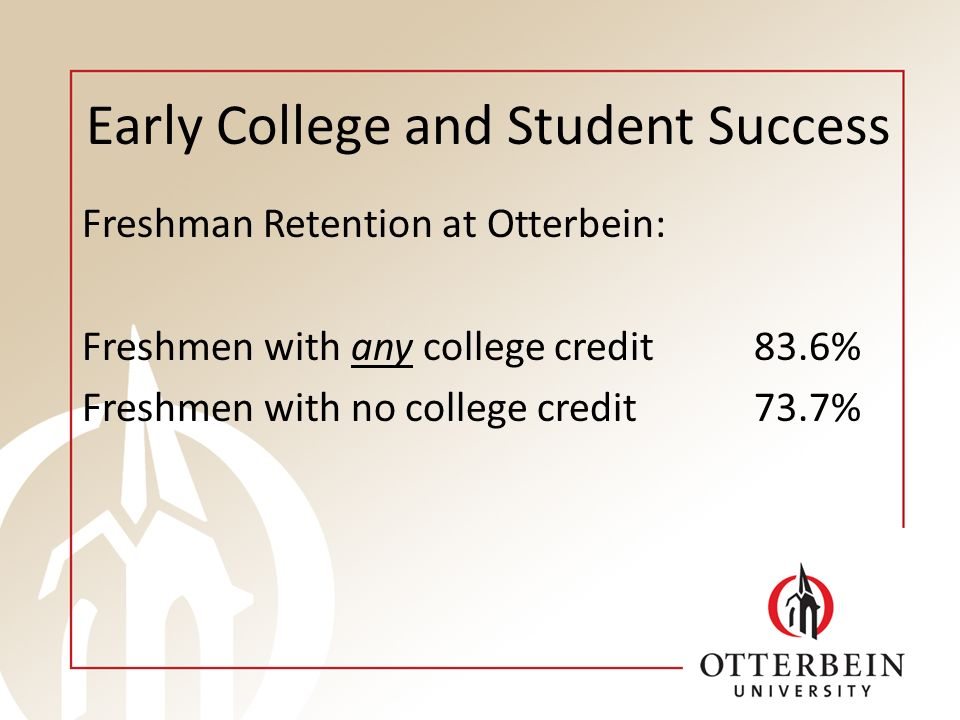 Early College and Student Success Freshman Retention at Otterbein: Freshmen with any college credit83.6% Freshmen with no college credit73.7%