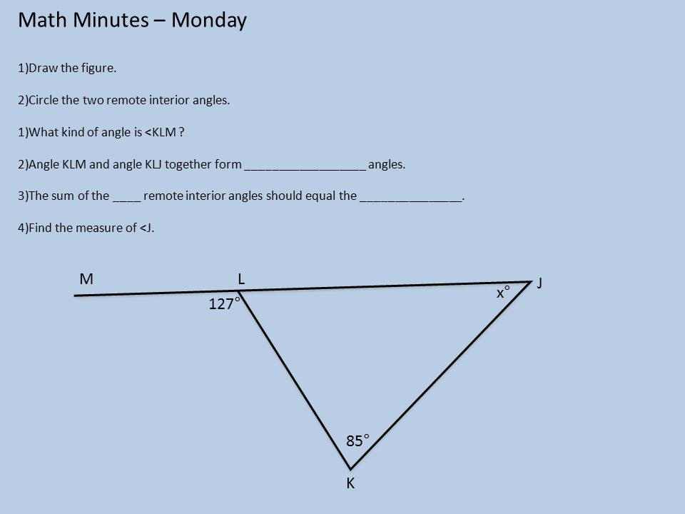 Math Minutes Monday 1Draw the figure 2Circle the two remote
