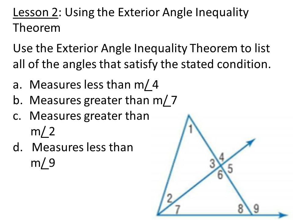 Date 73b Notes Exterior Angle Inequality Lesson Objective – Triangle Inequality Theorem Worksheet