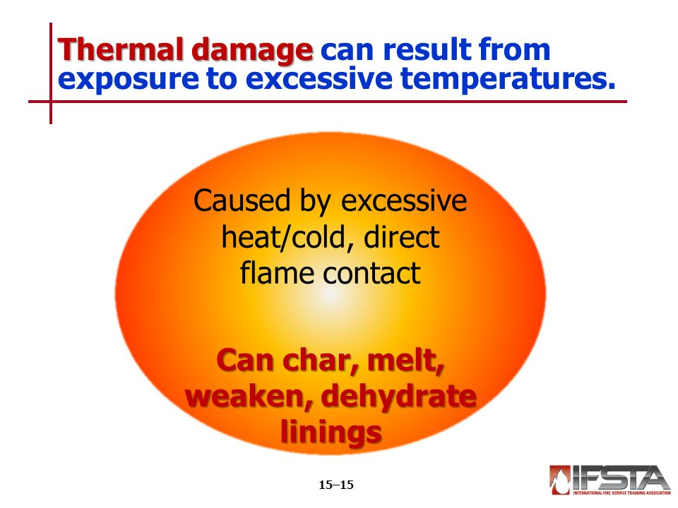 Thermal damage Thermal damage can result from exposure to excessive temperatures.