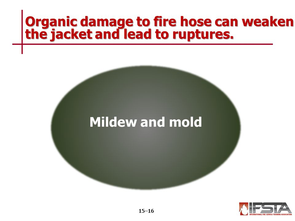 Organic damage to fire hose can weaken the jacket and lead to ruptures. 15–16 Mildew and mold