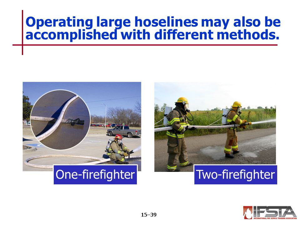 One-firefighterTwo-firefighter Operating large hoselines may also be accomplished with different methods.