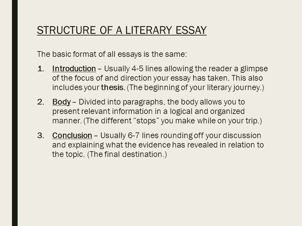 writing a literary analysis essay the only guide you will ever  structure of a literary essay the basic format of all essays is the same 1