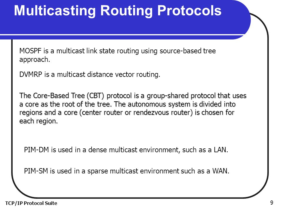 TCP/IP Protocol Suite 9 Multicasting Routing Protocols MOSPF is a multicast link state routing using source-based tree approach.