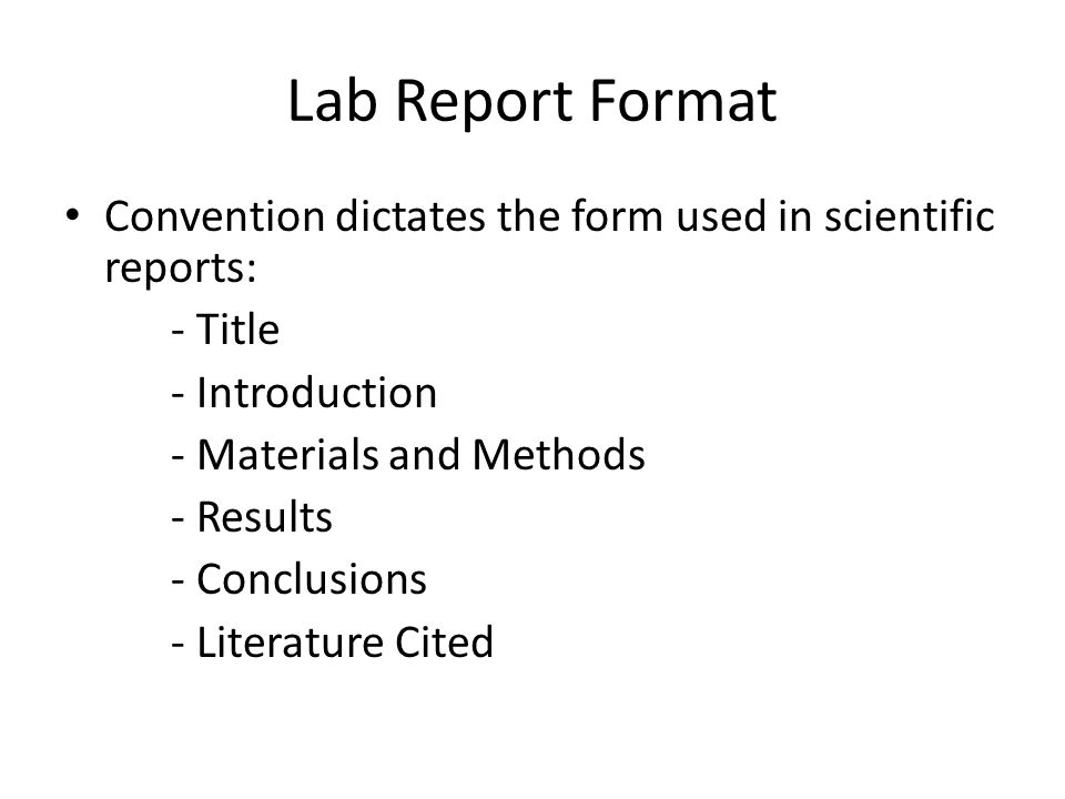 Material and methods for lab reports
