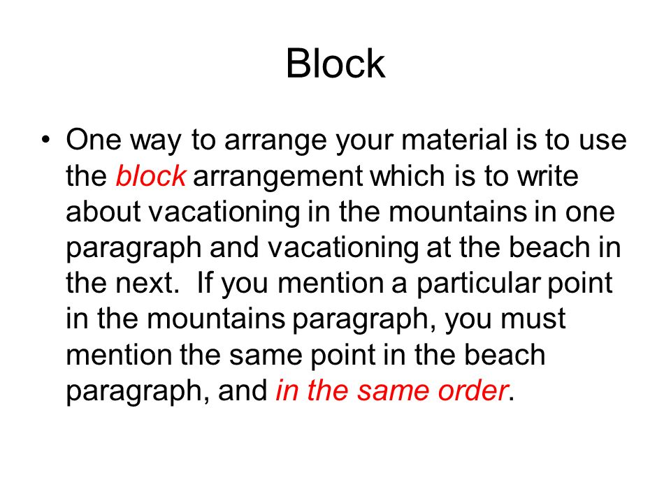 compare and contrast block essay