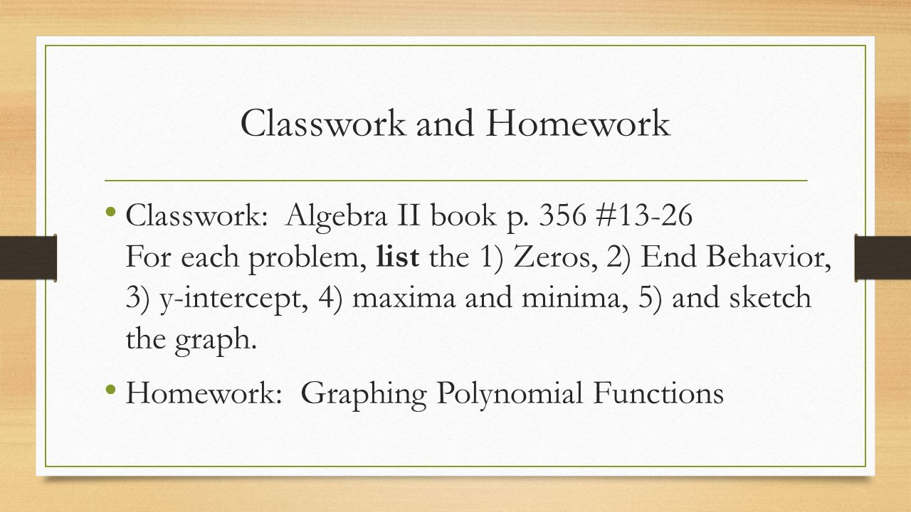 6 Classwork