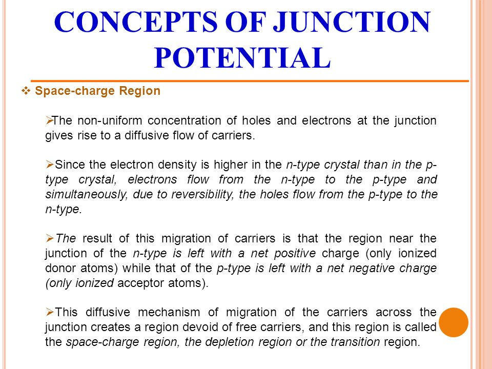 CONCEPTS OF JUNCTION POTENTIAL  Space-charge Region  The non-uniform concentration of holes and electrons at the junction gives rise to a diffusive flow of carriers.