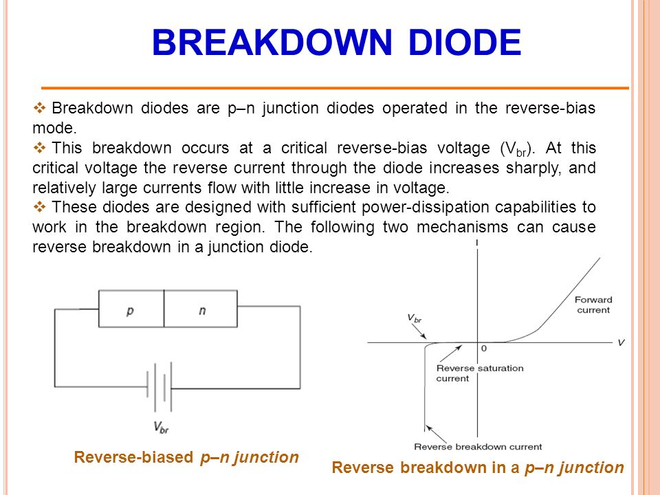 BREAKDOWN DIODE  Breakdown diodes are p–n junction diodes operated in the reverse-bias mode.