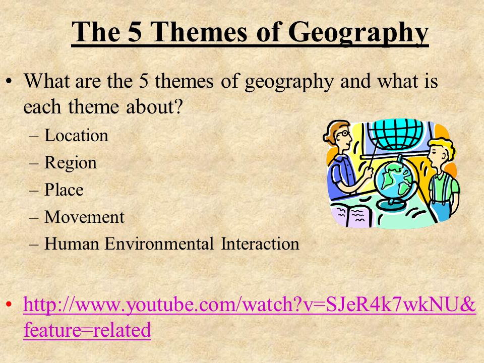 5 themes of geography The five themes of geography were created in 1984 by the national council for geographic education and the association of american geographers to facilitate and organize the teaching of geography in the k-12 classroom.