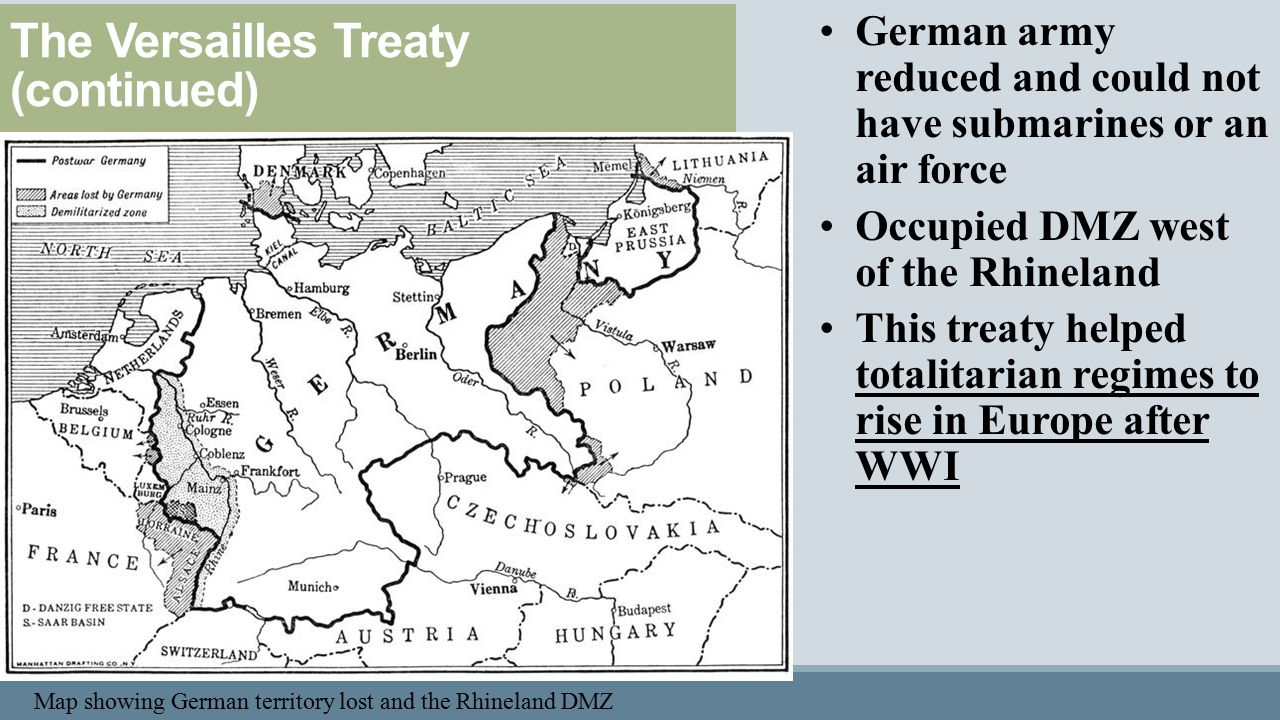 an overview of the treaty of versailles after the world war one The treaty of versailles was one of the peace treaties signed at the end of world war it ended the war between germany and the allied powers the treaty forced germany to give up territories to belgium, czechoslovakia, and poland.