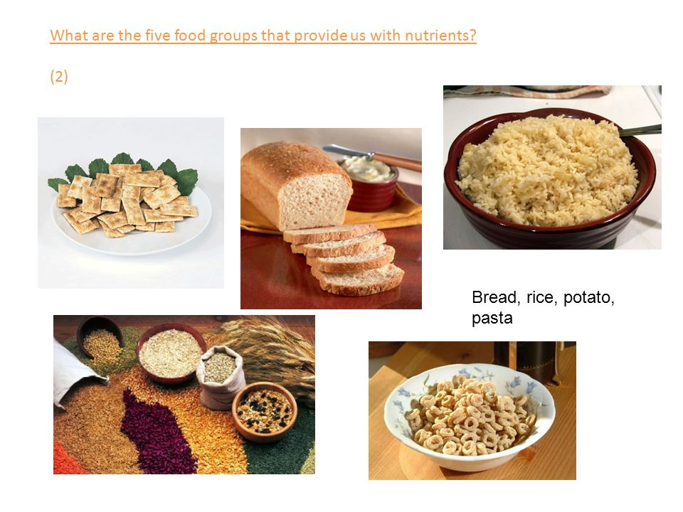 What are the five food groups that provide us with nutrients (2) Bread, rice, potato, pasta