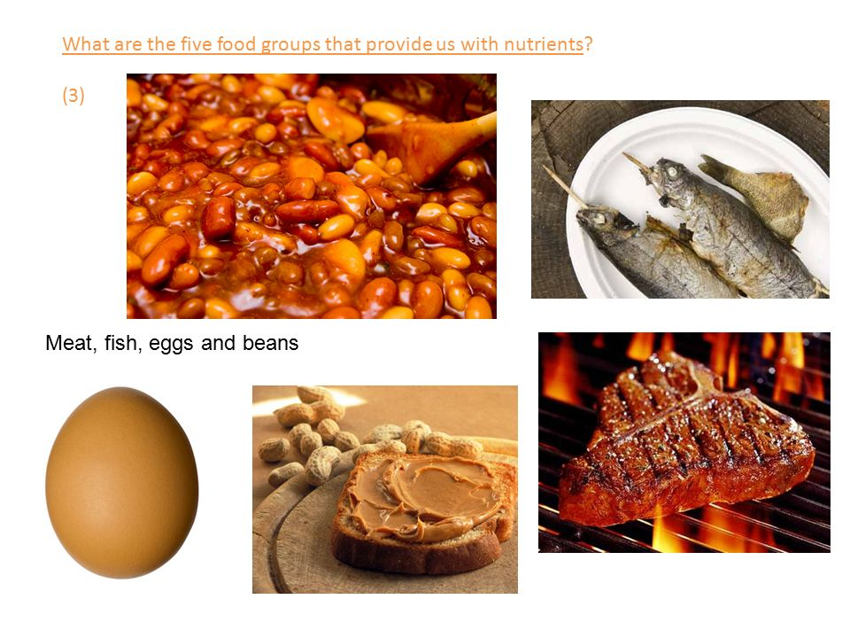 What are the five food groups that provide us with nutrients (3) Meat, fish, eggs and beans